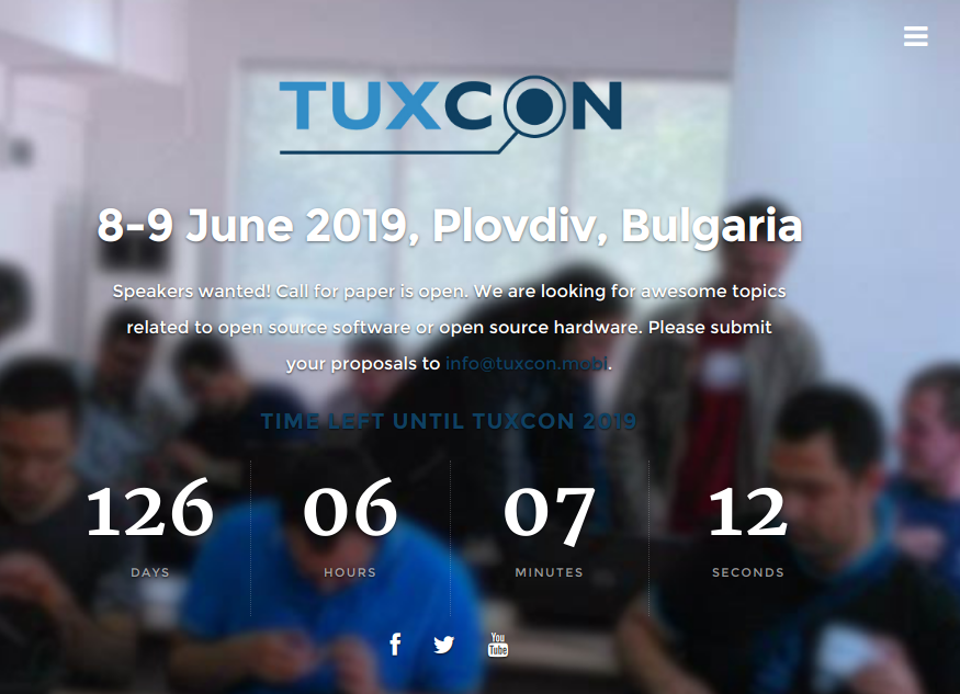 TuxCon 2019 Open Source hardware and software conference in Plovdiv will be 8-9 of June!