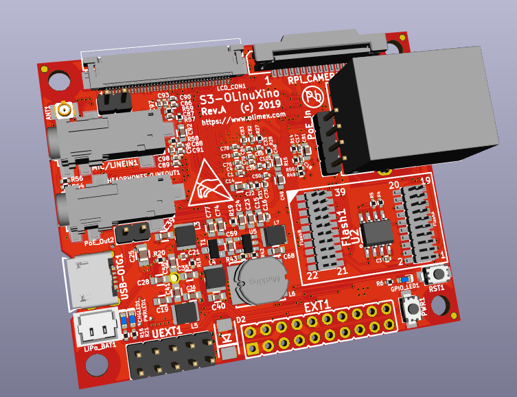 S3-OLinuXino OSHW IP Camera update: board routing complete, next to-do prototype.